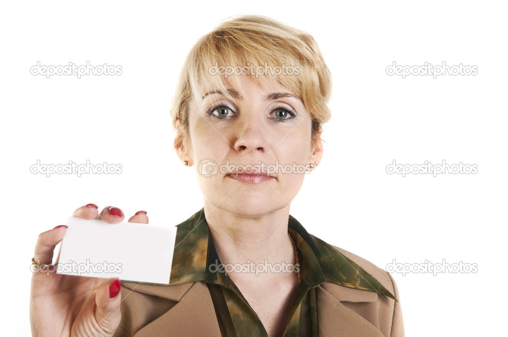 Portrait of business woman giving blank business card,  isolated over white background — Stock Photo #10527053