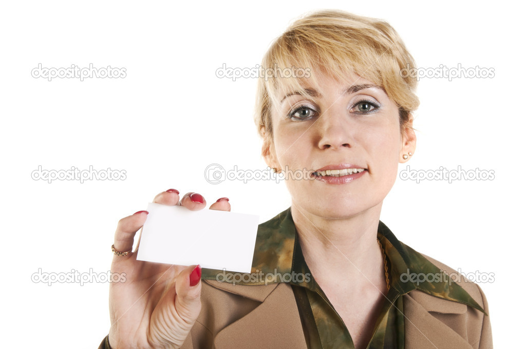 Portrait of business woman giving blank business card,  isolated over white background — Stock Photo #10527058
