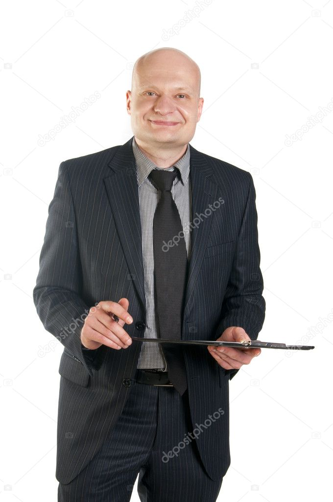 Businessman holding folder on white background  Stock Photo #10527093
