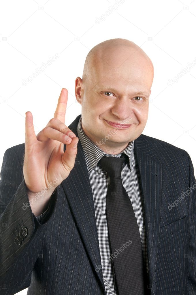 Businessman doing a rock symbol isolated over white background — Stock Photo #10527101