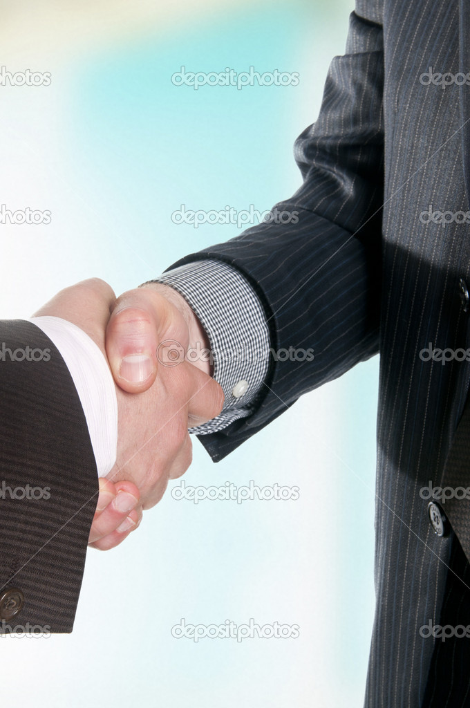 Two businessmen hands handshake — Stock Photo #10527137