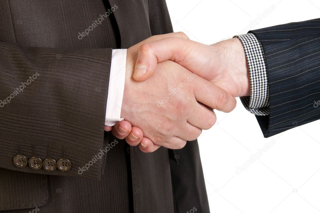 Two businessmen hands handshake isolated on white  Stock Photo #10527142