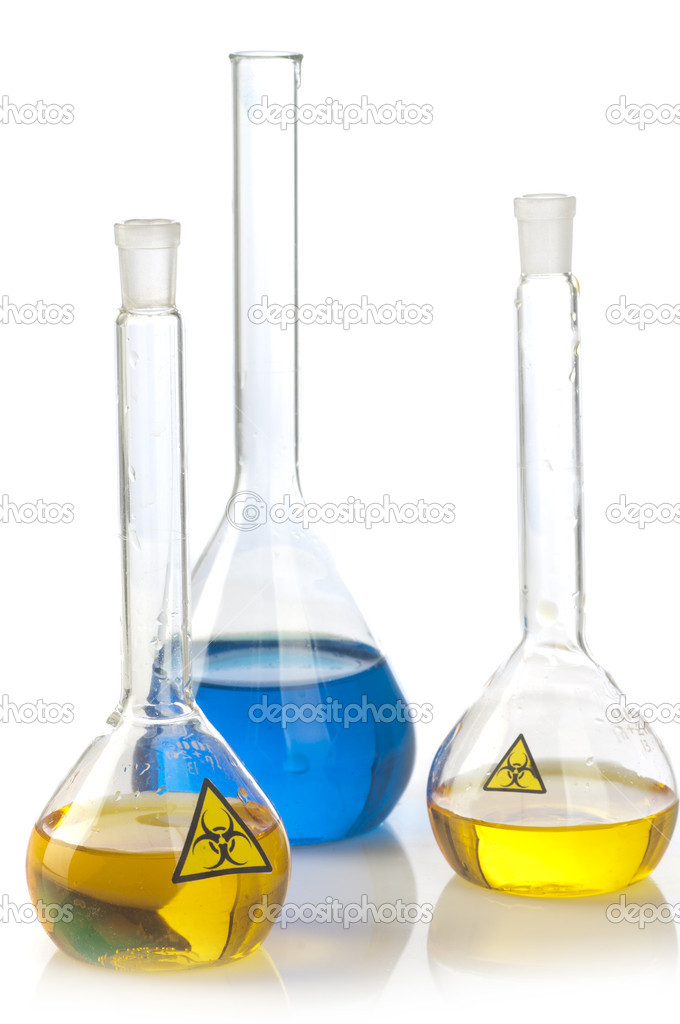 Glass laboratory equipment with symbol biohazard — Stock Photo #10527328