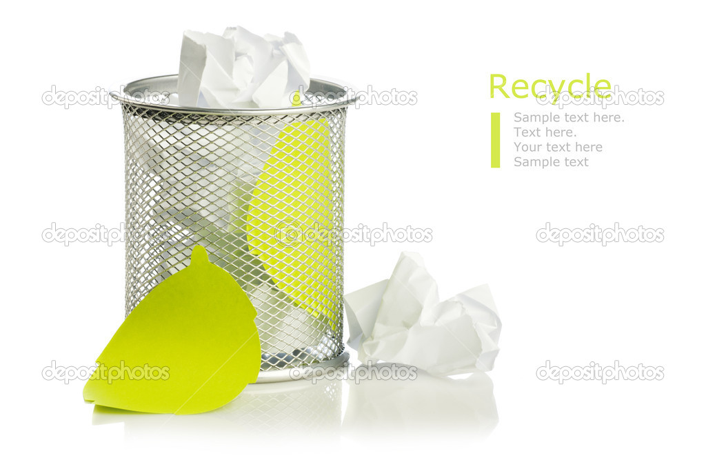 Metal trash bin from crumpled paper isolated on white — Stock Photo #8880229