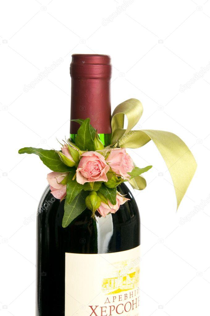 Flower decorated wine bottle stock photo nanka photo for Wine bottles decorated with flowers