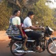 India, Family on the motorcycle - Stock Photo