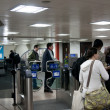 Ticket validation machines. come out of the subway - Foto de Stock  