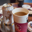 Pret A Manger restaurant  food.coffee and ginger beer — Stock Photo