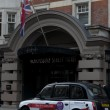 Black cabs parked near Bloomsbury Street Hotel  in London, UK - Stock Photo