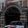 Stock Photo: Black cabs parked near Bloomsbury Street Hotel in London, UK