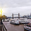 The river Thames with London Bridge,Tower Bridge — Foto Stock