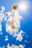 Girl hovers in the air — Stock Photo