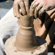 Potter is crafting pots with clay — Stock Photo #8824551