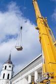 Yellow mobile crane boom — Stock Photo