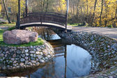 Foot Bridge in the autumn park — Stock Photo
