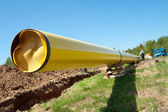 Gas pipelines against blue sky — Stock Photo
