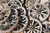 Old woden wagon wheels — Stock Photo