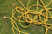 Yellow hose pipe on a green grass lawn. — Stock Photo