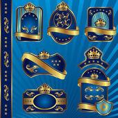 Blue royal labeles blanck — Stock Vector