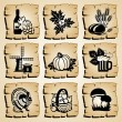 Icons autumn — Stock Vector
