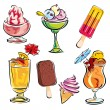 Summer drinks and desserts — 图库矢量图片