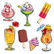Summer drinks and desserts — Imagen vectorial