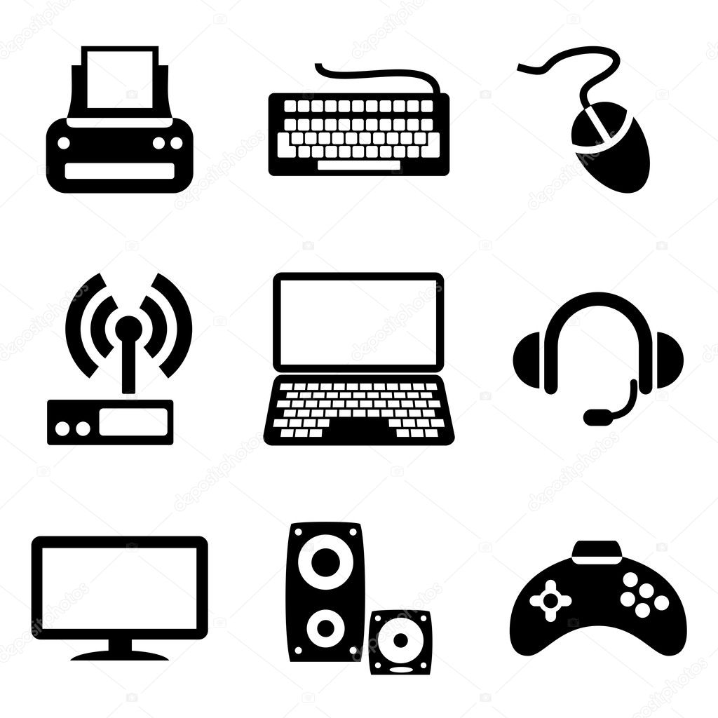 Set vector computer icons of computer devices  Stock Vector #9941027