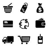 Computer commerce icons — Stock Vector