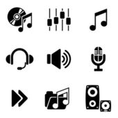 Iconos de audio de ordenador — Vector de stock