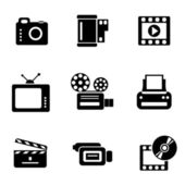Computer photo-video icons — Stock Vector