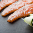 Homemade Salmon Gravadlax, shallow DOF - Stock Photo