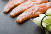 Homemade Salmon Gravadlax, shallow DOF — Stock Photo