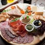 Mixed cheese, salami and Ham — Stock Photo