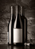 Bottles of red wine, monochromatic — Stock Photo