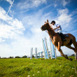 Man riding with horse — Stock Photo