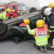 Fire and Rescue service staff at car crash training — Stock Photo #8200291