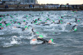 Triathlon swimmers — Stock fotografie