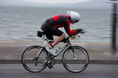Cyclist, David Burke (1245), panning technique — Stock Photo