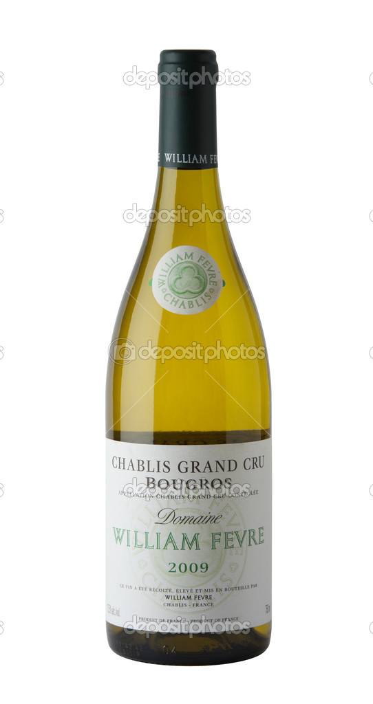 DUBLIN, IRELAND - APRIL 3: Bottle of White Wine 2009 William Fvre Chablis Champs Royaux, France, pictured on April 3, 2012 in Dublin, Ireland.  Stock Photo #9956142