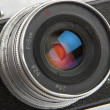 Retro photo camera lens — Stock Photo