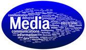 Illustration de nuage pour le mot média — Vecteur