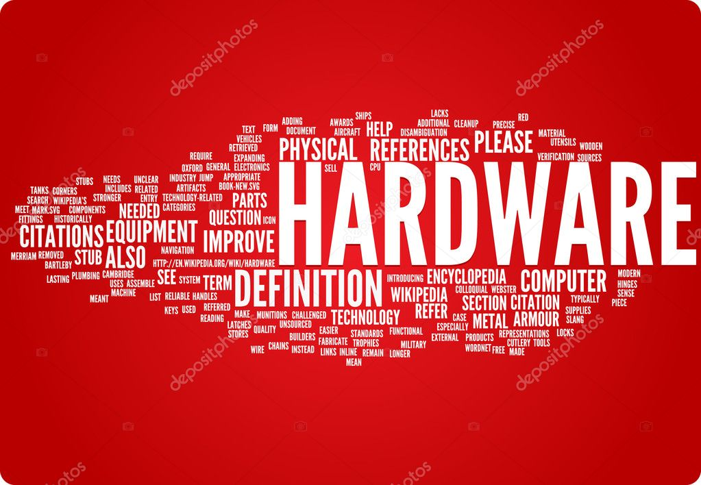 Hardware word cloud illustration. Graphic tag collection — Stock Vector #9024987
