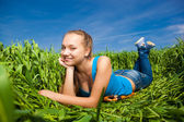 Young Woman in the field — Stock Photo
