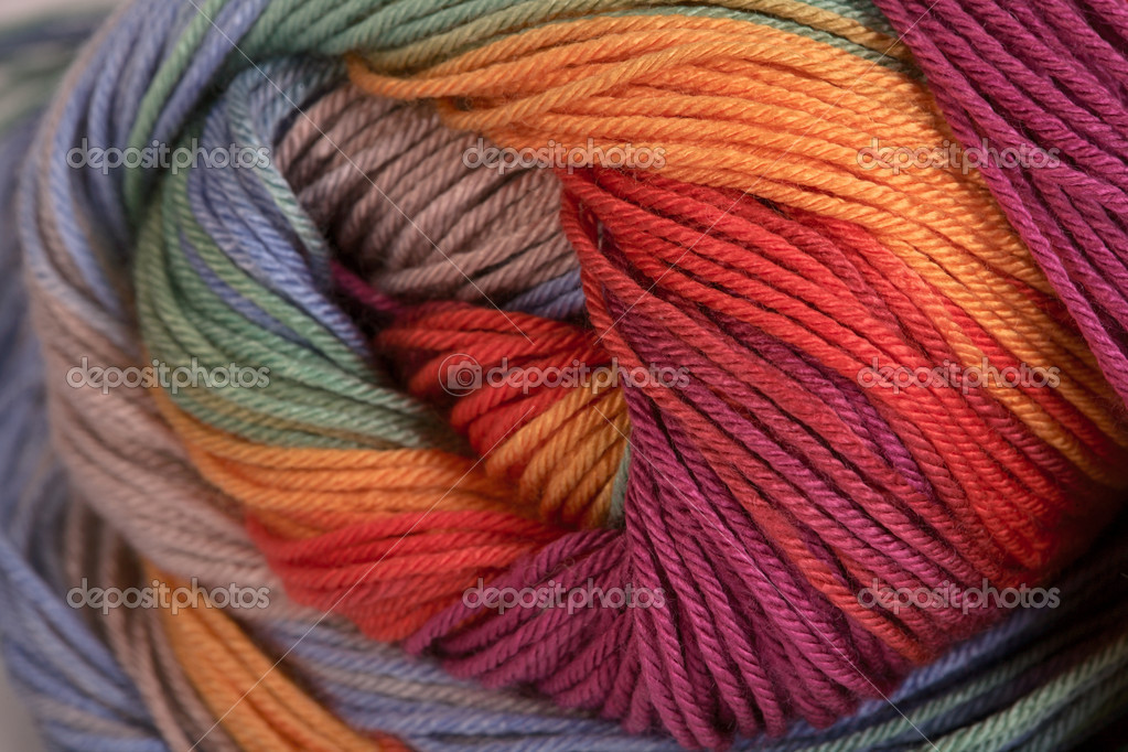 Ball of a color wool yarn for needlework — Photo #10119816
