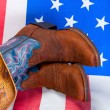 Cowboy set boots hat flag — Stock Photo