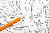 Pencil on architectural drawings — Stock Photo