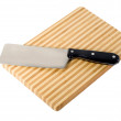 Meat-cleaver and chopping board — Stock Photo