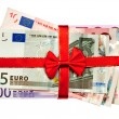 Euro bills with red ribbon — Stock Photo
