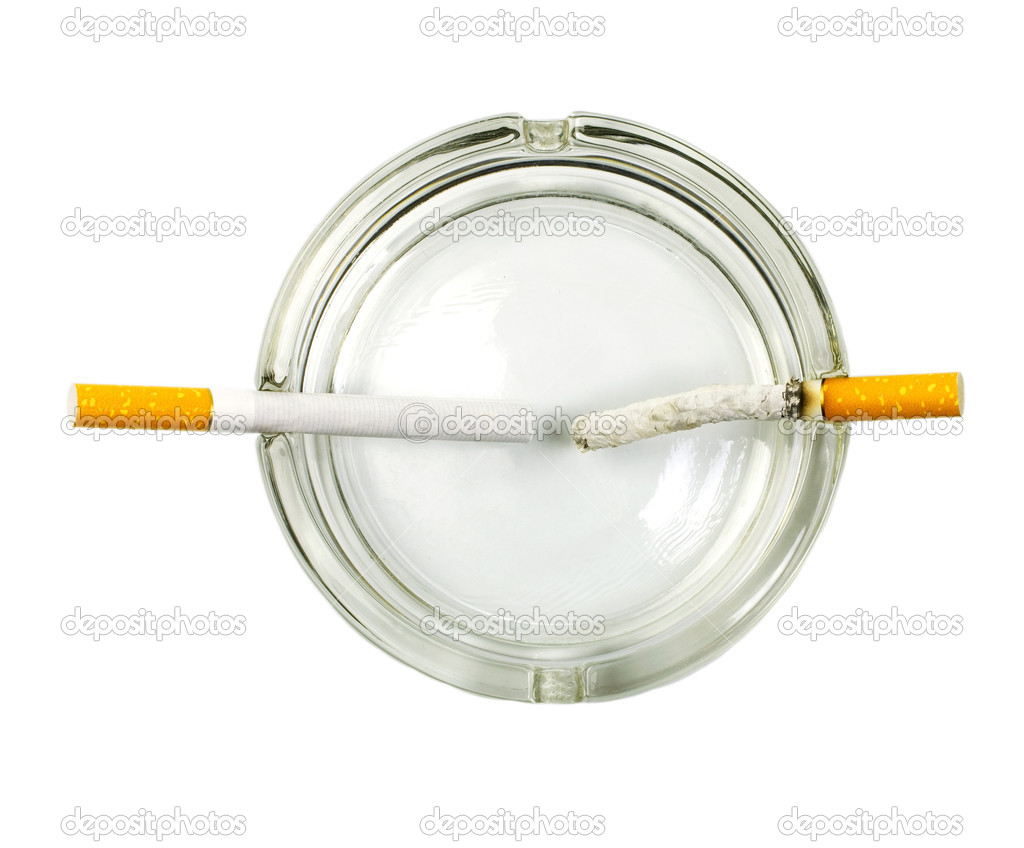 Cigarette in ashtray concept isolated on white background — Stock Photo #9714761