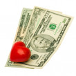 Heart dollar — Stock Photo